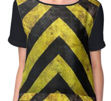 Grunge under construction stripes Chiffon Top