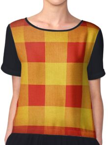 Red and yellow squares pattern Chiffon Top