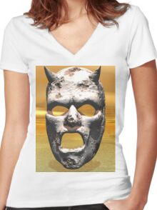 MASK OF STONE Women's Fitted V-Neck T-Shirt