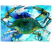 Blue Crab - Abstract Seafood Painting Poster