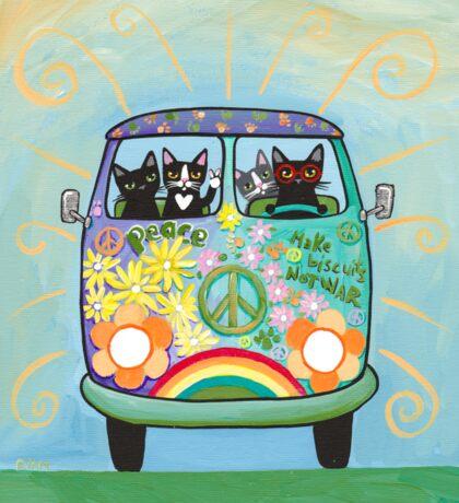 Hippie Cats Road Trip! Sticker
