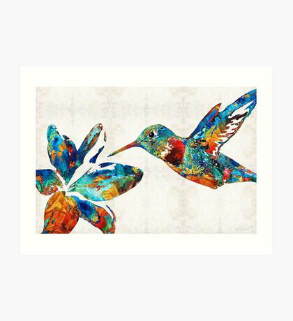 Colorful Hummingbird Art by Sharon Cummings Art Print