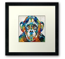 Colorful Chimp Art - Monkey Business - By Sharon Cummings Framed Print