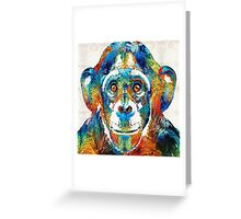 Colorful Chimp Art - Monkey Business - By Sharon Cummings Greeting Card