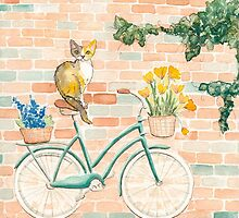 Calico Cat on a Turquoise Bicycle by Ryan Conners