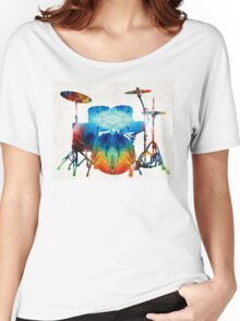 Drum Set Art - Color Fusion Drums - By Sharon Cummings  Women's Relaxed Fit T-Shirt