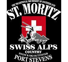 St. Moritz - Ski Alpine - Swiss flag Photographic Print