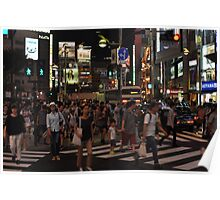 People Walking in a Busy Tokyo Intersection Poster