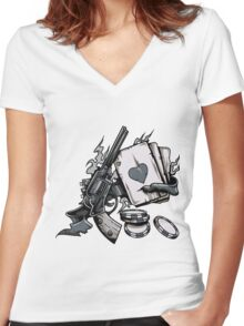Risky Game Women's Fitted V-Neck T-Shirt