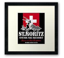 St. Moritz - Ski Alpine - Swiss flag Framed Print