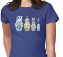 Russian Nesting Dolls – Navy Womens Fitted T-Shirt