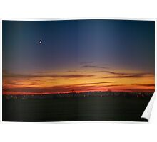 New Moon at Sunset Poster