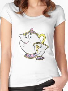 Mrs Potts & Chip Women's Fitted Scoop T-Shirt
