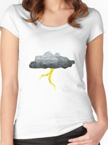 Thunder Cloud Low Poly Women's Fitted Scoop T-Shirt