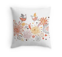 Floral Birds Throw Pillow