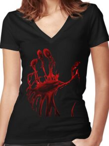 The Blood Hand Women's Fitted V-Neck T-Shirt