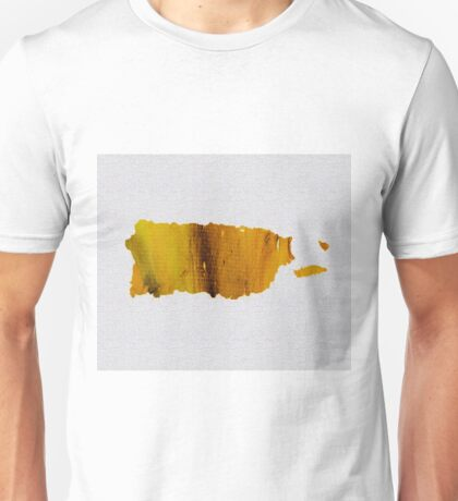 Colorful Art Puerto Rico Map Yellow Brown Unisex T-Shirt