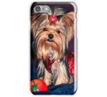 Cute Yorkie Puppy In Red Dress iPhone Case/Skin