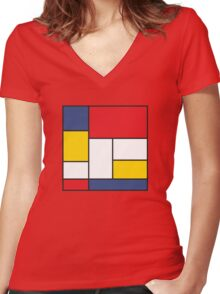 In the Style of Mondrian Women's Fitted V-Neck T-Shirt