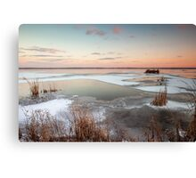 Lake Sunset in Winter Canvas Print