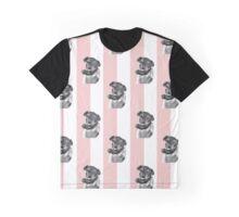 Teacup Yorkie on Vintage Teashop Stripes Graphic T-Shirt