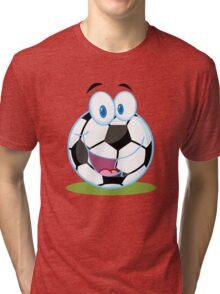 Cartoon soccer smiley ball Tri-blend T-Shirt