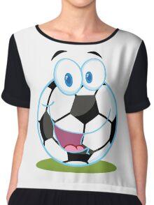 Cartoon soccer smiley ball Chiffon Top