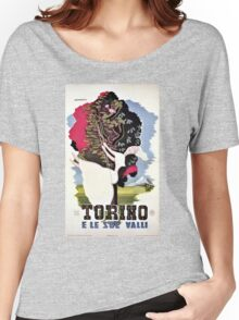 Vintage Italian travel Turin Italy, girl on a garden swing Women's Relaxed Fit T-Shirt