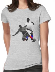 Football players kicking Womens Fitted T-Shirt