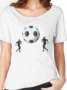 Football players and huge ball art Women's Relaxed Fit T-Shirt