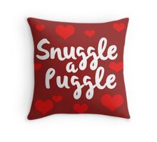 Puggles! 'Snuggle a Puggle' with hearts - the best of Pugs and Beagles Throw Pillow