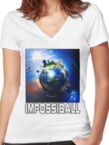 Flat Earth Impossiball Women's Fitted V-Neck T-Shirt