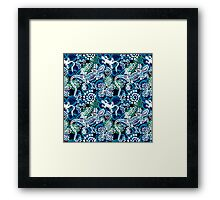 Boho style seamless pattern with Australian aboriginal arts motifs. Framed Print