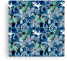 Boho style seamless pattern with Australian aboriginal arts motifs. Canvas Print