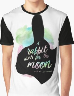 A Rabbit Aims For The Moon Graphic T-Shirt