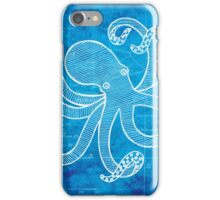 Octopus, Illustration Over Nautical Map iPhone Case/Skin
