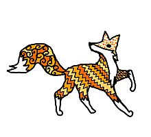 Fox Pattern Filled Outline Photographic Print