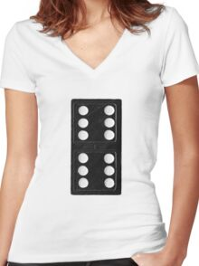 Domino Double Six Women's Fitted V-Neck T-Shirt
