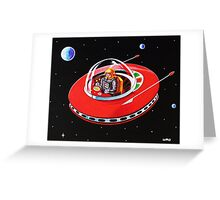 RED FLYING SAUCER Greeting Card