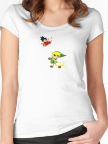 Link Vs Kid Goku 2 Women's Fitted Scoop T-Shirt