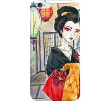 Oiran Geisha Watercolor Painting iPhone Case/Skin