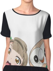 Kotori and Rowlet cornerface Chiffon Top