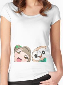 Kotori and Rowlet cornerface Women's Fitted Scoop T-Shirt