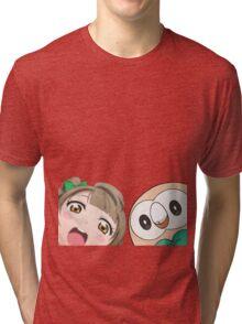 Kotori and Rowlet cornerface Tri-blend T-Shirt