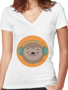 Sloth Jams Women's Fitted V-Neck T-Shirt