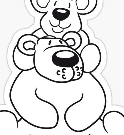shoulders sitting papa mama child family son daughter team polar bear sitting sweet cute comic cartoon teddy bear dick big Sticker