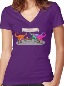 Ornithomimus Party Women's Fitted V-Neck T-Shirt