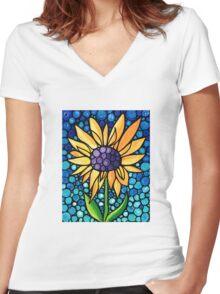 Standing Tall - Sunflower Art By Sharon Cummings Women's Fitted V-Neck T-Shirt