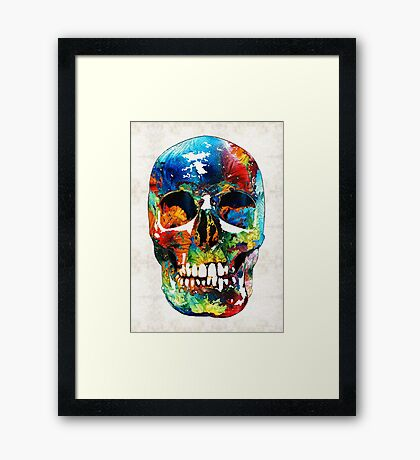 Colorful Skull Art - Aye Candy - By Sharon Cummings Framed Print