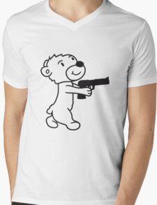 pistol shooting knarre shoot criminals war weapon evil teddy sweet cute Mens V-Neck T-Shirt